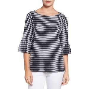 Pleione Bell Striped Sleeve Top